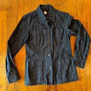J.Crew Black Denim Coat, Size 6